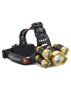 High-power light 5 LED T6 + 2R5 headlight outdoor sports camping fishing including 18650 battery