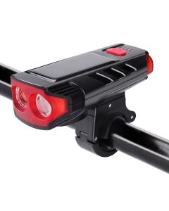 Solar horn 2000mAh rechargeable bicycle light double lamp beads five modes bicycle light