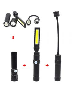 T6 strong light led flashlight with strong folding magnetic handheld rechargeable cob