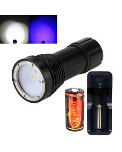 D32VB Diving Flashlight 2*Cree XM-L2 White light and 2*Blue light LED Scuba Diving Photography Waterproof Torch
