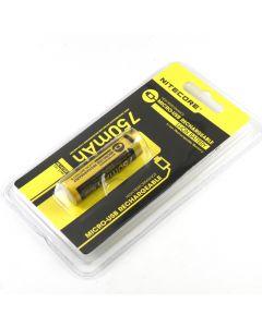 Nitecore NL1475R 750mAh 14500 3.6V 2.7Wh High Performance Micro-USB Rechargeable Li-ion Battery