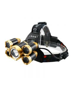 5-pin LED headlight with infrared sensor waterproof zoom camping light powered by 18650 battery