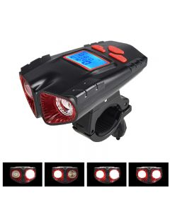 Bicycle light USB rechargeable waterproof LCD screen with horn speedometer