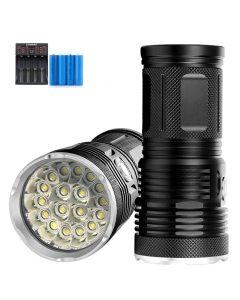 12000 lumens 18*T6 LED outdoor light waterproof flashlight camping light lantern uses 18650 battery