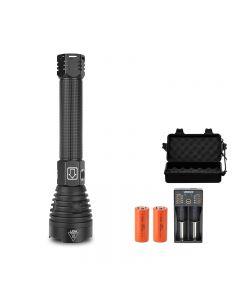 P90 LED strong light flashlight USB charging power display telescopic zoom outdoor flashlight