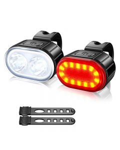 2 pice 4 Modes 350mAh USB MTB Road Bicycle Headlight 6 Modes 230mAh Rechargeable Cycling Taillight