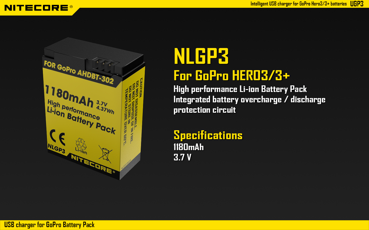 Buy Nitecore Ugp3 Intelligent Usb Charger Lcd Display Battery Gopro Wiring Diagram For Hero3 3 Ahdbt 302 301 201 Batteries From Ca2073 Only In Website