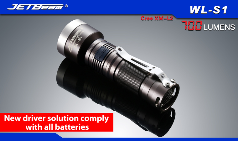 AA, 2A, CR123A, 16340 New Jetbeam WL-S1 Cree XM-L2 700 Lumens LED Flashlight