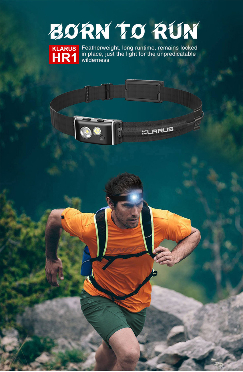 klarus HR1 Plus 600 Lumens Ultra-Slim Running Headlamp Running Waist Pack